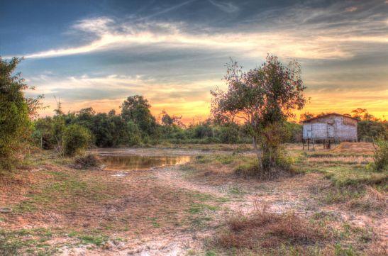 Laos Reisen Foto Sonnenuntergang Feld 3